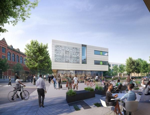 rendering of outdoor restaurant area