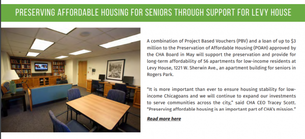 Levy House newsletter clip