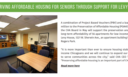 POAH's Levy House deal featured in Chicago Housing Authority Newsletter